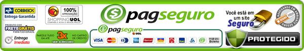 Este site aceita pagamentos com Visa, MasterCard, Diners, American Express, Hipercard, Aura, Bradesco, Itaú, Unibanco, Banco do Brasil, Banco Real, saldo em conta PagSeguro e boleto.
